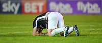 Lincoln City's Matt Rhead lays on the pitch after suffering a head injury<br /> <br /> Photographer Chris Vaughan/CameraSport<br /> <br /> The EFL Sky Bet League Two Play Off Second Leg - Exeter City v Lincoln City - Thursday 17th May 2018 - St James Park - Exeter<br /> <br /> World Copyright &copy; 2018 CameraSport. All rights reserved. 43 Linden Ave. Countesthorpe. Leicester. England. LE8 5PG - Tel: +44 (0) 116 277 4147 - admin@camerasport.com - www.camerasport.com