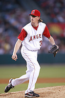 Jered Weaver of the Los Angeles Angels during a 2007 MLB season game at Angel Stadium in Anaheim, California. (Larry Goren/Four Seam Images)