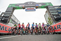 Picture by Allan McKenzie/SWpix.com - 15/05/2018 - Cycling - OVO Energy Tour Series Womens Race - Round 2:Motherwell - The womens race prepares to roll out, gantry, branding.