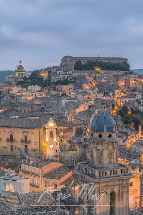 Europe, Italy, Sicily, Ragusa, Looking Down on Ragusa Ibla at Dusk