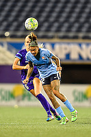 Orlando, FL - Saturday September 10, 2016: Tasha Kai, Kaylyn Kyle during a regular season National Women's Soccer League (NWSL) match between the Orlando Pride and Sky Blue FC at Camping World Stadium.