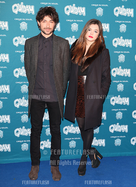Alex Zane and girlfriend arriving for the Cirque du Soleil Quidam Press Night, at the Royal Albert Hall, London. 07/01/2014 Picture by: Alexandra Glen / Featureflash