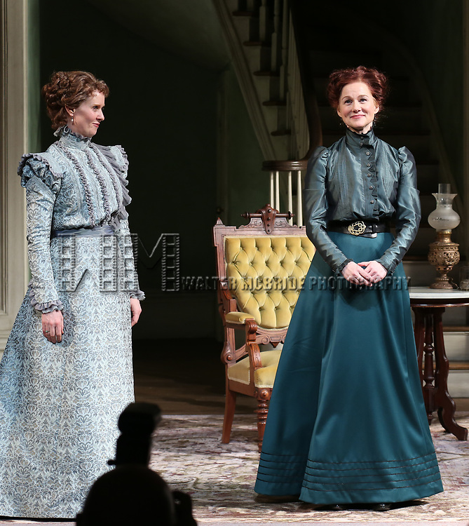 Cynthia Nixon and Laura Linney during the Broadway Opening Night Curtain Call bows for 'The Little Foxes' at Samuel J. Friedman Theatre on April 19, 2017 in New York City.