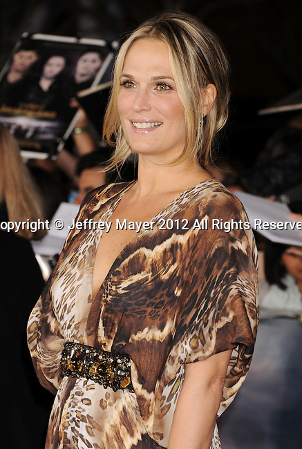 LOS ANGELES, CA - NOVEMBER 12: Molly Sims arrives at 'The Twilight Saga: Breaking Dawn - Part 2' Los Angeles premiere at Nokia Theatre L.A. Live on November 12, 2012 in Los Angeles, California.
