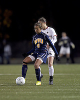 "West Virginia forward Frances Silva (9) controls the ball as Boston College forward Alaina Beyar (17) pressures. Boston College defeated West Virginia, 4-0, in NCAA tournament ""Sweet 16"" match at Newton Soccer Field, Newton, MA."