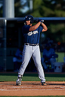 AZL Brewers Blue Kevin Hardin (63) at bat during an Arizona League game against the AZL Royals at Surprise Stadium on June 18, 2019 in Surprise, Arizona. AZL Royals defeated AZL Brewers Blue 12-7. (Zachary Lucy/Four Seam Images)