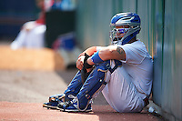 Buffalo Bisons catcher Sean Ochinko (9) in the bullpen during a game against the Columbus Clippers on July 19, 2015 at Coca-Cola Field in Buffalo, New York.  Buffalo defeated Columbus 4-3 in twelve innings.  (Mike Janes/Four Seam Images)