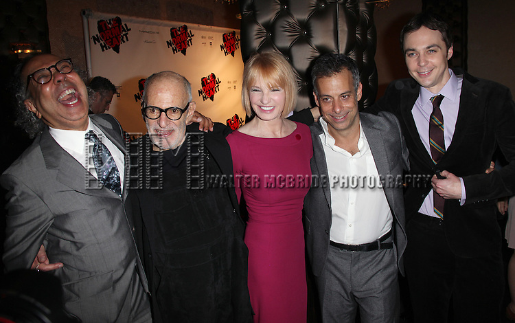 George C. Wolf, Larry Kramer, Ellen Barkin, Joe Mantello & Jim Parsons.attending the Broadway Opening Night After Party for 'The Normal Heart' in New York City.