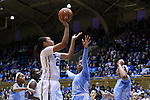 01 March 2015: Duke's Kendall Cooper (left) shoots over North Carolina's Stephanie Mavunga (1) and Allisha Gray (15). The Duke University Blue Devils hosted the University of North Carolina Tar Heels at Cameron Indoor Stadium in Durham, North Carolina in a 2014-15 NCAA Division I Women's Basketball game. Duke won the game 81-80.
