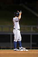 Scottsdale Scorpions third baseman Abraham Toro (28), of the Houston Astros organization, celebrates after hitting a double during an Arizona Fall League game against the Salt River Rafters at Salt River Fields at Talking Stick on October 11, 2018 in Scottsdale, Arizona. Salt River defeated Scottsdale 7-6. (Zachary Lucy/Four Seam Images)