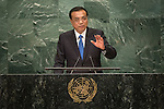 Continuation of the general debate [item 8] Address by His Excellency Li Keqiang, Premier of the State Council of the People's Republic of China <br /> <br /> General Assembly Seventy-first session 10th plenary meeting<br /> General Debate