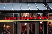 Lucky brand jeans sign outside their downtown Montreal store