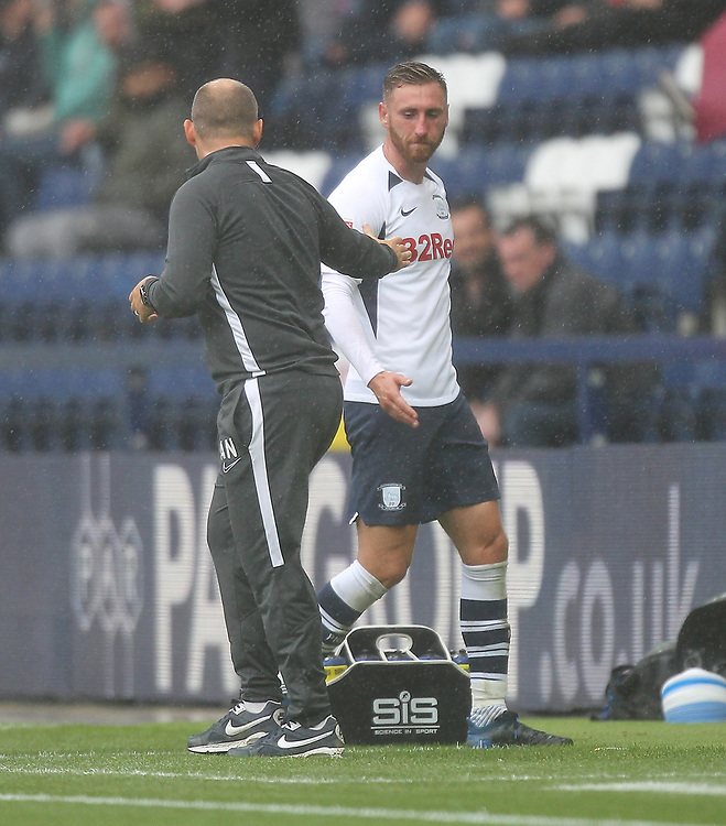 Preston North End's Louis Moult is welcomed by Alex Neal<br /> <br /> Photographer Mick Walker/CameraSport<br /> <br /> The EFL Sky Bet Championship - Preston North End v Wigan Athletic - Saturday 10th August 2019 - Deepdale Stadium - Preston<br /> <br /> World Copyright © 2019 CameraSport. All rights reserved. 43 Linden Ave. Countesthorpe. Leicester. England. LE8 5PG - Tel: +44 (0) 116 277 4147 - admin@camerasport.com - www.camerasport.com