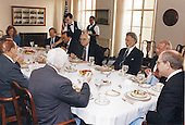 United States Secretary of Defense Les Aspin hosts a breakfast for selected Members of  Congress at the Pentagon in Washington, DC on January 27, 1993. Clockwise around the table from the center foreground: US Representative Joseph M. McDade (Republican of Pennsylvania), US Senator Strom Thurmond (Republican of South Carolina), US Senator Sam Nunn (Democrat of Georgia), mostly hidden, Ms. Lee, Secretary Aspin, US Representative Ron Dellums (Democrat of California), US Representative Floyd Spence (Republican of South Carolina), and Mr. Smith.<br /> Mandatory Credit: Robert D. Ward - DoD via CNP