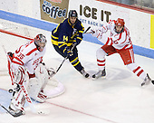 Grant Rollheiser (BU - 35), Joe Cucci (Merrimack - 14), Nick Bonino (BU - 13) - The Boston University Terriers defeated the Merrimack College Warriors 6-4 (EN) on Saturday, January 16, 2010, at Agganis Arena in Boston, Massachusetts.
