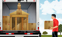 Man loading moving van with cardboard boxes in shape of university building ExclusiveImage