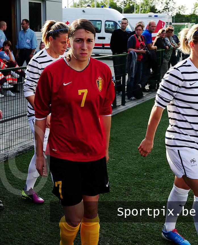 Vriendschappelijke interland vrouwenvoetbal : Belgium A - France A te Nieuwpoort ;..Audrey Demoustier..foto DAVID CATRY / Vrouwenteam.be