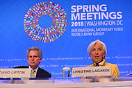 Washington, DC - April 19, 2018: IMF Managing Director Christine Lagarde holds a press briefing with David Lipton during the Spring Meetings of the International Monetary Fund/World Bank Group in Washington, DC April 19, 2018.  (Photo by Don Baxter/Media Images International)