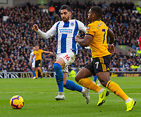 Brighton &amp; Hove Albion's Alireza Jahanbakhsh (left) under pressure from Wolverhampton Wanderers' Ivan Cavaleiro (right) <br /> <br /> Photographer David Horton/CameraSport<br /> <br /> The Premier League - Brighton and Hove Albion v Wolverhampton Wanderers - Saturday 27th October 2018 - The Amex Stadium - Brighton<br /> <br /> World Copyright &copy; 2018 CameraSport. All rights reserved. 43 Linden Ave. Countesthorpe. Leicester. England. LE8 5PG - Tel: +44 (0) 116 277 4147 - admin@camerasport.com - www.camerasport.com
