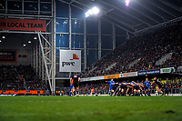 The All Blacks scrummage during the Steinlager Series international rugby match between the New Zealand All Blacks and France at Forsyth Barr Stadium in Wellington, New Zealand on Saturday, 23 June 2018. Photo: Dave Lintott / lintottphoto.co.nz