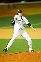 Relief pitcher John McLeod #40 of the Wake Forest Demon Deacons in action against the Charlotte 49ers at Gene Hooks Field on March 22, 2011 in Winston-Salem, North Carolina.   Photo by Brian Westerholt / Four Seam Images