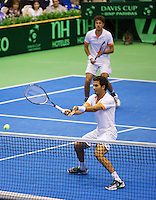 06-04-13, Tennis, Rumania, Brasov, Daviscup, Rumania-Netherlands,Jean-Julien Rojer and Robin Haase(background) in the dubbles