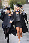 NO Repro Fee....Braving the Weather...Lisa Collins, Drumcondra, Dublin (left) and Nicole Gallagher, Blackrock, Dublin who both graduated with BA in Business Studies pictured here arriving to the Dublin Business School Graduation Ceremony held in the RDS, Dublin. Pic. Robbie Reynolds/CPR