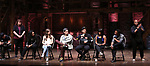 """Roddy Kennedy, Jennie Harney, Eliza Ohman, Ryan Vasquez, David Guzman, Karla Garcia and Zelig Williams from the 'Hamilton' cast during a Q & A before The Rockefeller Foundation and The Gilder Lehrman Institute of American History sponsored High School student #EduHam matinee performance of """"Hamilton"""" at the Richard Rodgers Theatre on June 6, 2018 in New York City."""