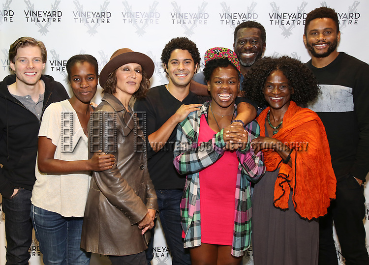 """Hunter Parrish, director Awoye Timpo, Lisa Ramirez, Ian Quinlan, playwright and star Ngozi Anyanwu, Oberon K.A. Adjepong, Patrice Johnson Chevannes, and Nnamdi Asomugha attend the Cast photo call for the Vineyard Theatre production of """"Good Gfief"""" on September 12, 2018 at the Vineyard Theatre in New York City."""