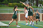 TAMPA, FL - MAY 20: Bryanna Fazio #14 of the Le Moyne Dolphins celebrates after scoring the first goal of the game against the Florida Southern Mocs during the Division II Women's Lacrosse Championship held at the Naimoli Family Athletic and Intramural Complex on the University of Tampa campus on May 20, 2018 in Tampa, Florida. Le Moyne defeated Florida Southern 16-11 for the national title. (Photo by Jamie Schwaberow/NCAA Photos via Getty Images)