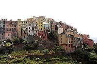 Una veduta di Corniglia, uno dei borghi delle Cinque Terre.<br /> A view of the village of Corniglia atop its cliff at the CinqueTerre.<br /> UPDATE IMAGES PRESS/Riccardo De Luca