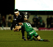 9th February 2018, Galway Sportsground, Galway, Ireland; Guinness Pro14 rugby, Connacht versus Ospreys; Kieron Fonotia (Ospreys) is tackled by Tom Farrell (Connacht)