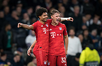 Serge Gnabry (left) celebrates scoring a goal with Joshua Kimmich of Bayern Munich during the UEFA Champions League group match between Tottenham Hotspur and Bayern Munich at Wembley Stadium, London, England on 1 October 2019. Photo by Andy Rowland.