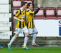 East Fife's Liam Buchanan celebrates after he scores their first goal from the penalty spot.