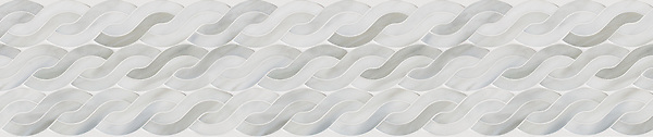 """8 9/16"""" Cable Knit border, a waterjet mosaic shown in Alabaster, is part of the Tissé Collection by New Ravenna."""
