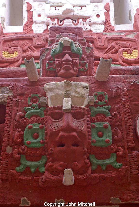 Replica of the Rosalila temple in the Copan Sculpture Museum at the Mayan ruins of Copan, Honduras.
