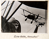 BNPS.co.uk (01202 558833)<br /> Pic: Dickins/BNPS<br /> <br /> Operation Barbarossa - A flight of Henschel Hs 123 biplanes.<br /> <br /> The unseen personal photo album of Field Marshal Wolfram von Richthofen, cousin to the legendary Red Baron, which gives an unprecedented insight into his military career in the Third Reich, has been rediscovered.<br /> <br /> Wolfram served in the Red Baron's squadron in the WW1, went on to design the 'Jericho trumpet' of the infamous Stuka Bomber between the wars, before leading the Condor Legion in the Spanish Civil War.<br /> <br /> After the outbreak of WW2 the fascinating album shows Richthofen's lead roll in Operation Barbarossa - the Nazi's suprise invasion of Communist Russia and their race to conquer the vast country before the onset of the notorious Russian winter.<br /> <br /> The two albums were taken from Berlin by a British soldier at the end of the Second World War who kept it for 60 years before it was passed into the hands of a private collector.<br /> <br /> Dickins auctions are selling the historic albums with a &pound;20,000 estimate on 31st March.