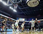 SIOUX FALLS, SD - MARCH 8: Matt Holba #13 of the PFW Mastodons drives into North Dakota defenders at the 2020 Summit League Basketball Championship in Sioux Falls, SD. (Photo by Richard Carlson/Inertia)
