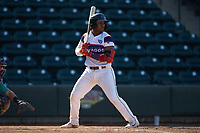 Yeyson Yrizarri (2) of the Winston-Salem Rayados at bat against the Lynchburg Hillcats at BB&T Ballpark on June 23, 2019 in Winston-Salem, North Carolina. The Hillcats defeated the Rayados 12-9 in 11 innings. (Brian Westerholt/Four Seam Images)