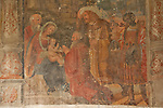 A 16th cenutry fresco in the Santa Maria delle Grazie church cloister in Gravedona, a town on Lake Como, Italy