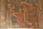 A 16th cenutry fresco in the Santa Maria delle Grazie church cloister in Gravedona, a town on Lake Como, Italy