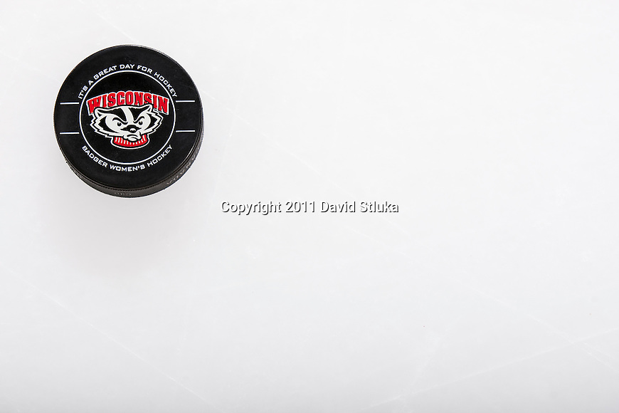An official puck of the Wisconsin Badgers prior to an NCAA women's hockey game against the Minnesota Golden Gophers on October 14, 2011 in Madison, Wisconsin. The Badgers won 3-2. (Photo by David Stluka)