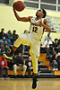 Danny Ashley #12 of Uniondale drives to the net for a lay up during the second quarter of a non-league varsity boys basketball game against Copiague in the Richard Brown Nassau-Suffolk Challenge at Uniondale High School on Saturday, Jan. 13, 2018.