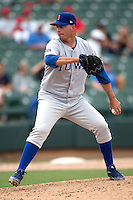 Iowa Cubs pitcher Scott Maine #24 during the Pacific Coast League baseball game against the Round Rock Express on April 15, 2012 at the Dell Diamond in Round Rock, Texas. The Express beat the Cubs 11-10 in 13 innings. (Andrew Woolley / Four Seam Images).