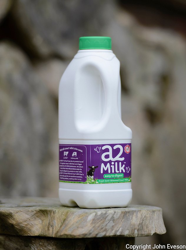 A plastic bottle of a2 milk.