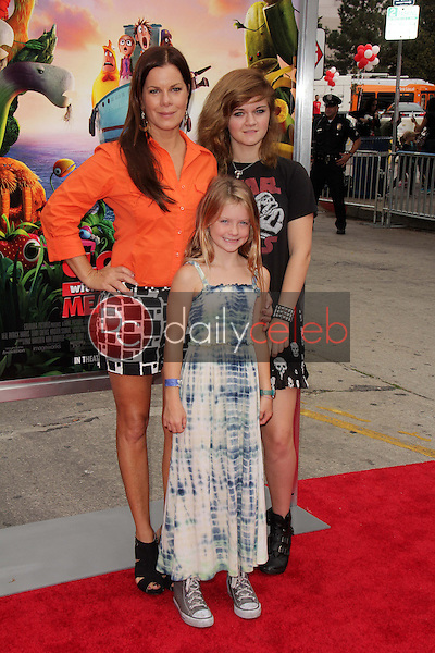 """Marcia Gay Harden and daughters<br /> at the """"Cloudy With A Chance of Meatballs 2"""" Los Angeles Premiere, Village Theater, Westwood, CA 09-21-13<br /> David Edwards/Dailyceleb.com 818-249-4998"""