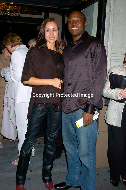 "April Wilkner and Kwame Jackson, both runners up in ..Reality Shows, She was on Americas Top Model and he was on The Apprentice..at The Broadway opening of ""Prymate"" on May 5, 2004 ..starring Heather Tom, Phyllis Frelich, Andre De Shields and ..James Naughton at the Longacre Theatre in New YOrk City. ..Photo by Robin Platzer, Twin Images"