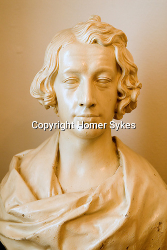 Charles Dickens portrait bust as a young man in the Charles Dickens Museum 48 Doughty Street London UK.