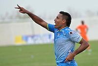 MONTERIA - COLOMBIA - 15-03-2015: Martin Arzuaga (Izq.) jugador de Jaguares FC celebra su segundo gol durante partido entre Jaguares FC y Envigado FC por la fecha 10 de la Liga Aguila I 2015, jugado en el estadio Municipal de Monteria. / Martin Arzuaga (L) player of Jaguares FC celebrates his second goal during a match between Jaguares FC and Envigado FC for the  date 10 of the Liga Aguila I-2015 at the Municipal de Monteria Stadium in Monteria city, Photo: VizzorImage / Jose Perdomo / Cont.