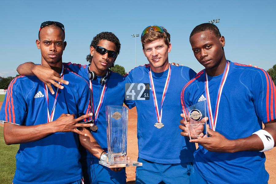22 August 2010: Luis de la Rosa, David Van Heyningen, Boris Rothermundt, Jean Antonio Samer, pose with the trophy at the 2010 European Championship, under 21, in Brno, Czech Republic.